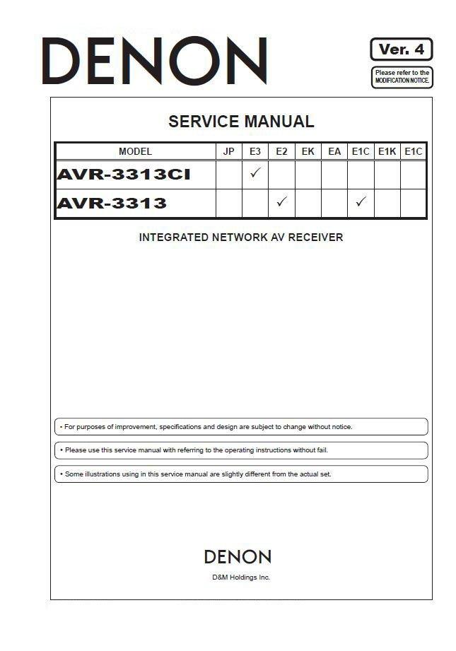 Denon AVR-3313CI ,AVR-3313 Ver.4 Surround Receiver Service Manual PDF