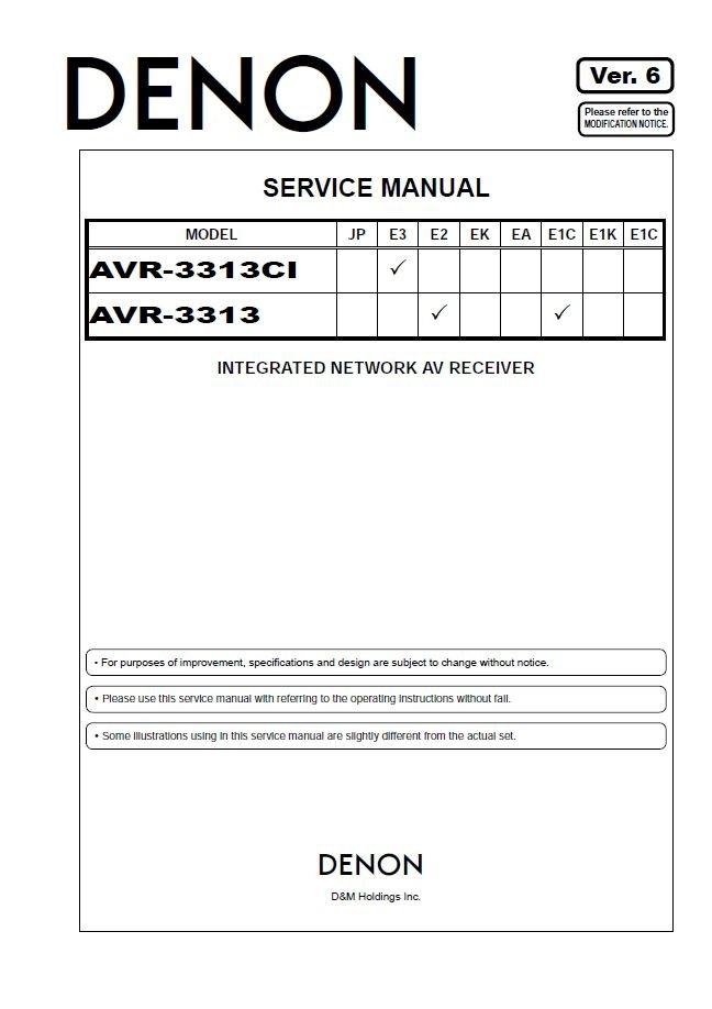 Denon AVR-3313CI ,AVR-3313 Ver.6 Surround Receiver Service Manual PDF