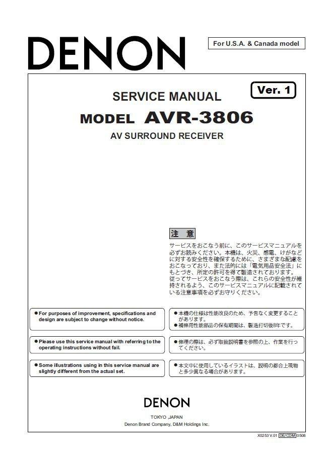 Denon AVR-3806 Ver.1 Surround Receiver Service Manual PDF