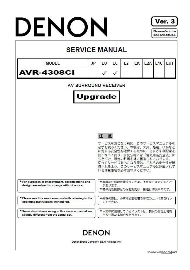 Denon AVR-4308CI Ver.3 Surround Receiver Service Manual PDF