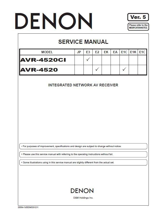 Denon AVR-4520CI ,AVR-4520 Ver.5 Surround Receiver Service Manual PDF