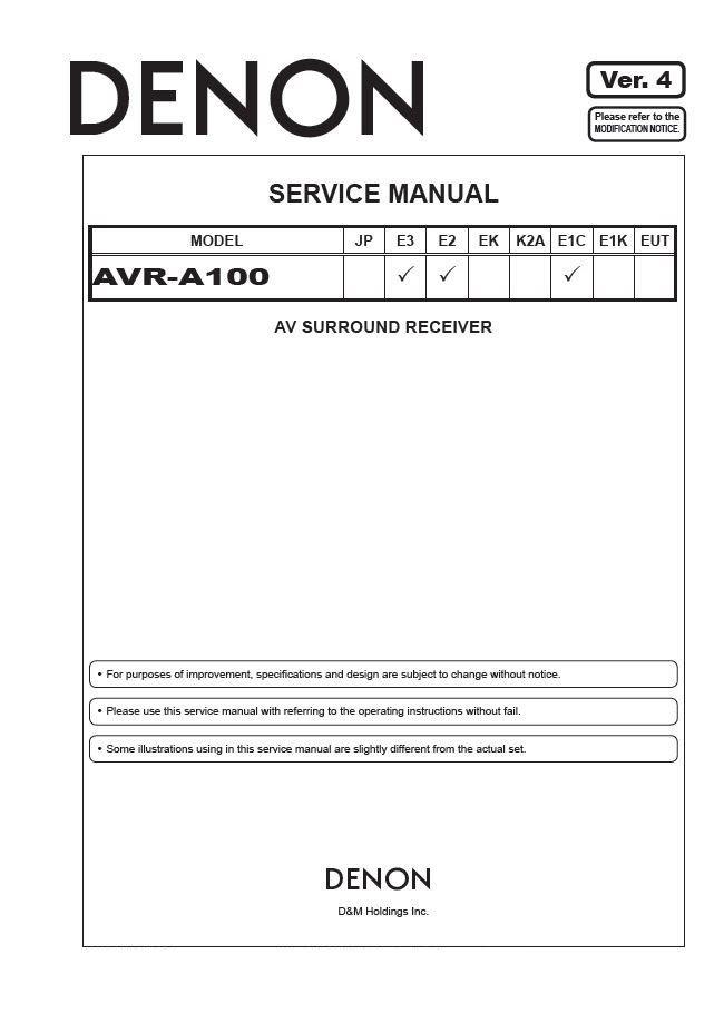 Denon AVR-A100 Ver.4 Surround Receiver Service Manual PDF