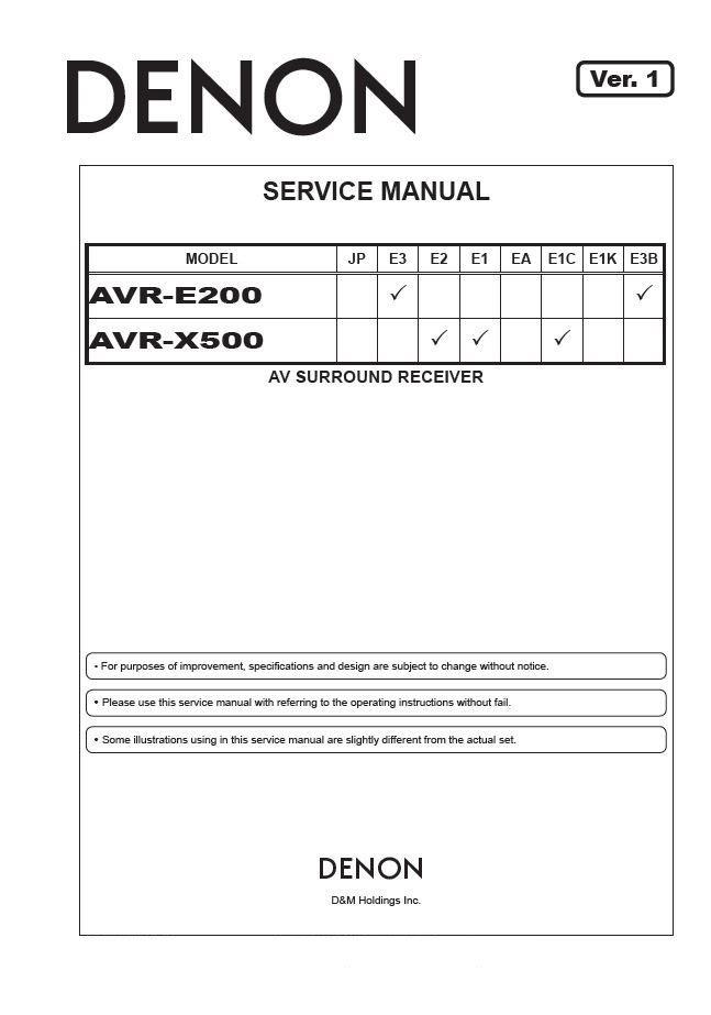 Denon AVR-E200 ,AVR-X500 Ver.1 Surround Receiver Service Manual PDF