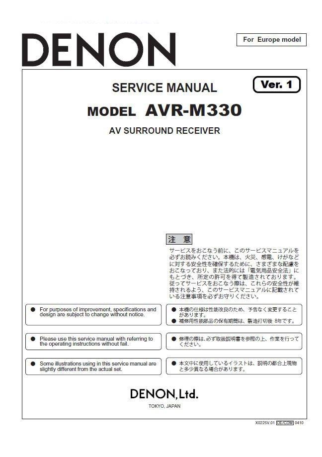 Denon AVR-M330 Ver.1 Surround Receiver Service Manual PDF