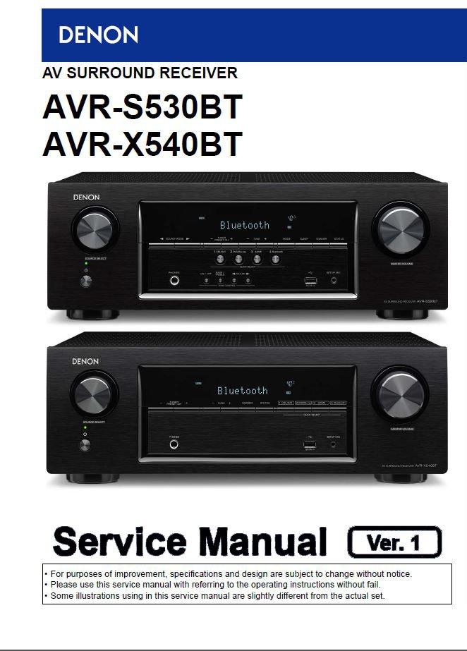 Denon AVR-S530BT ,AVR-X540BT Ver.1 Surround Receiver Service Manual PDF