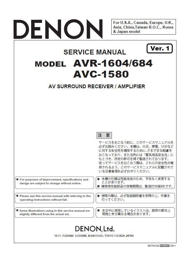 Denon AVR-1604 ,AVR-684 ,AVC-1580 Ver.1 Surround Receiver Service Manual PDF