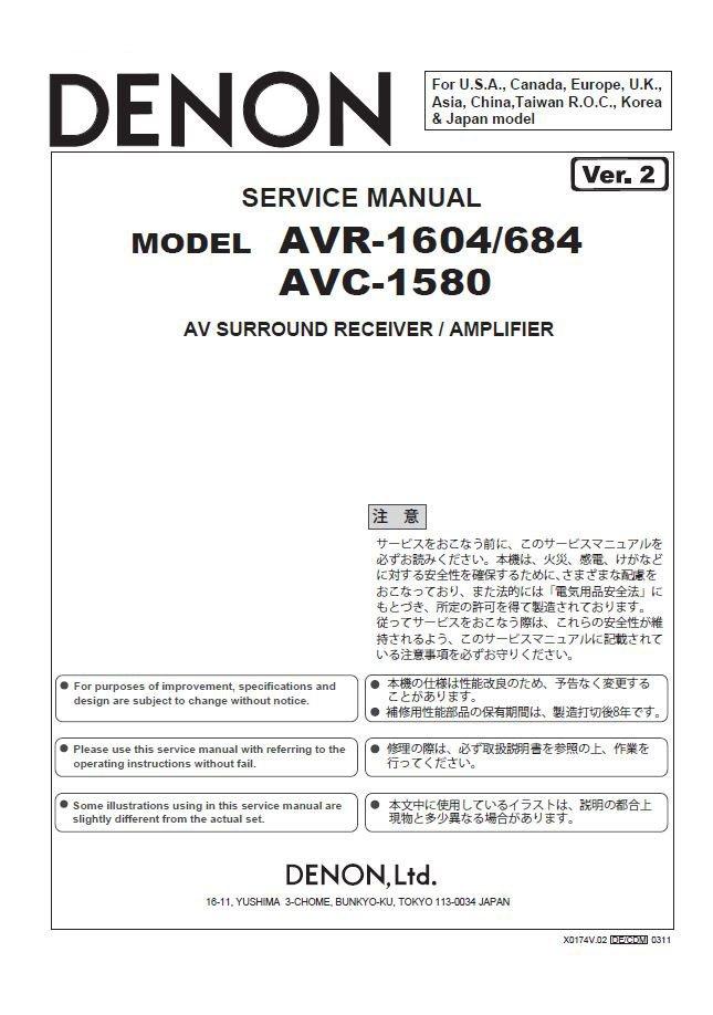 Denon AVR-1604 ,AVR-684 ,AVC-1580 Ver.2 Surround Receiver Service Manual PDF