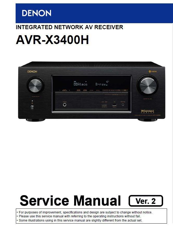 Denon AVR-X3400H Ver.2 Network AV Receiver Service Manual PDF