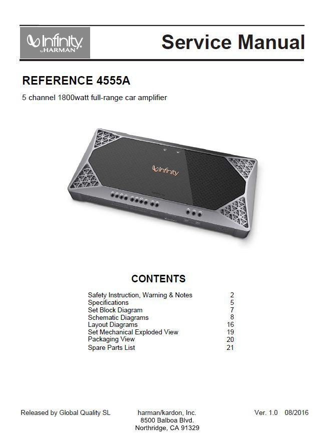 Infinity Reference 4555A Ver.1.0 Car Power Amplifier Service Manual PDF