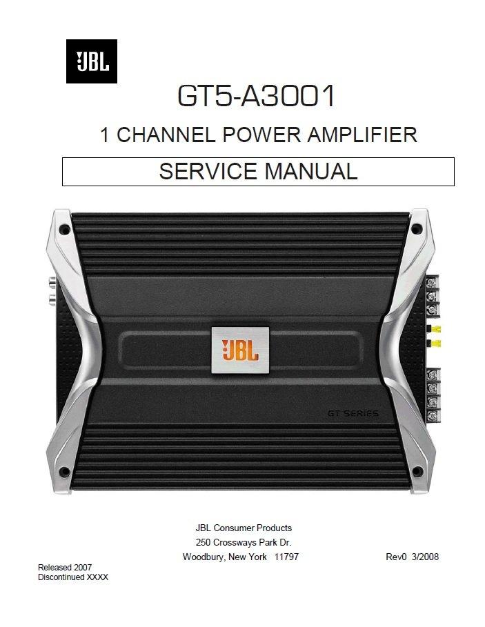JBL GT5-A3001 Rev.0 Power Amplifier Service Manual PDF