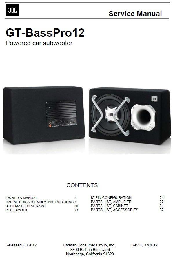 JBL GT-BassPro12 Rev.0 Powered Subwoofer Service Manual PDF