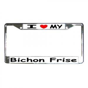 BICHON FRISE DOG License Plate Frame Vehicle Heavy Duty Metal 12148761