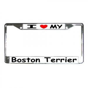 BOSTON TERRIER DOG License Plate Frame Vehicle Heavy Duty Metal 12148769