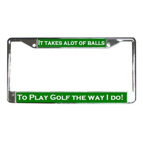 IT TAKES ALOT OF BALLS, Golf License Plate Frame Vehicle Heavy Duty Metal 19683543