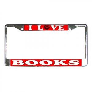 I LOVE BOOKS License Plate Frame Vehicle Heavy Duty Metal 21360158