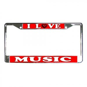 I LOVE MUSIC License Plate Frame Vehicle Heavy Duty Metal 21360171