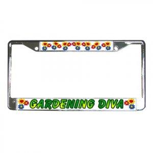 GARDENING DIVA License Plate Frame Vehicle Heavy Duty Metal 22075140