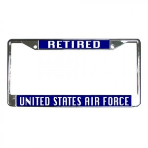 RETIRED US AIRFORCE License Plate Frame Vehicle Heavy Duty Metal 27633778