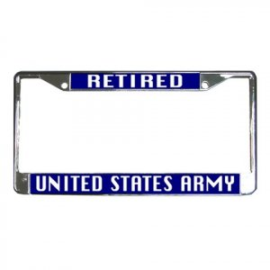 RETIRED US ARMY License Plate Frame Vehicle Heavy Duty Metal 27633779
