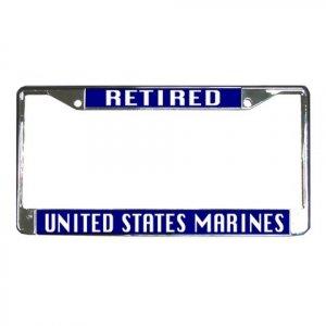 RETIRED US MARINES License Plate Frame Vehicle Heavy Duty Metal 27633782