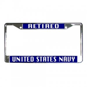 RETIRED US NAVY License Plate Frame Vehicle Heavy Duty Metal 27633783