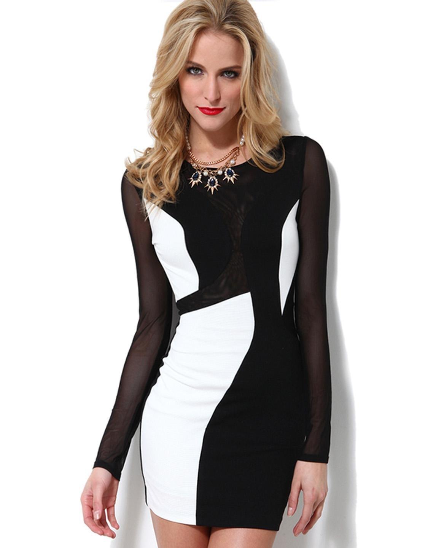 Spring Black Pretty Ladies Mesh Patchwork Sexy Streetwear Color Block Bodycon Dress