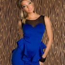 2016 Hot sale Sexy Blue Black Mini Pepulm Women dress W203700