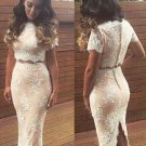 Hot Sale Sexy Women Sexy Nude Lace Scalloped Two Piece Set Party Dress W850334