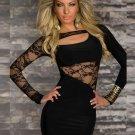 Women Mini Dresses Fashion Sexy Clubwear Daring Lace Little Black Dress