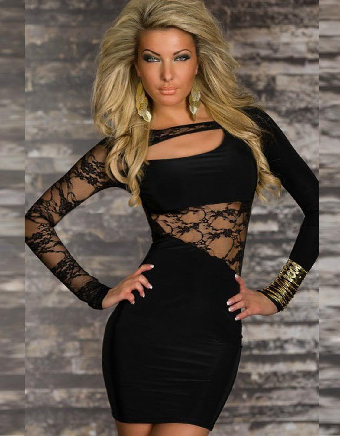 Summer Fashion Lace Dress Long Sleeve Sexy Clubwear Cut-out Club Dress