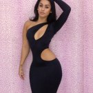 2016 New Arrival Good Stretch One-shoulder Cutout Bodycon Dress for Women W3159
