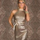 Gold Charming Women Turtleneck Party Dresses Backless Sparkling Halter Sleeveless Clubwear Dress