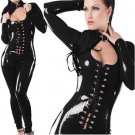 Lace Up Black Fetish Gothic Faux Leather Jumpsuit PVC Catsuit Vinyl Sexy Club Jumpsuit W7743