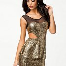 Mesh Cut Out Sequin Dress Sexy Clubwear Mini Pepulm Dress for Women W845132