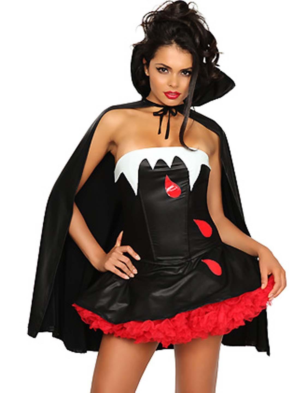 Woman Cosplay Evil Fancy Dresses Blood Bite Me Vampire Halloween Costume