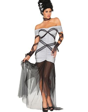 Sexy Mesh Gothic Beauties Fancy Dress Strapless Adult Halloween Witch Party Costume