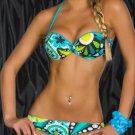 Women Fashion Swimwear Two Pieces Bathing Suit Printing Padded Triangle Bikinis W6112