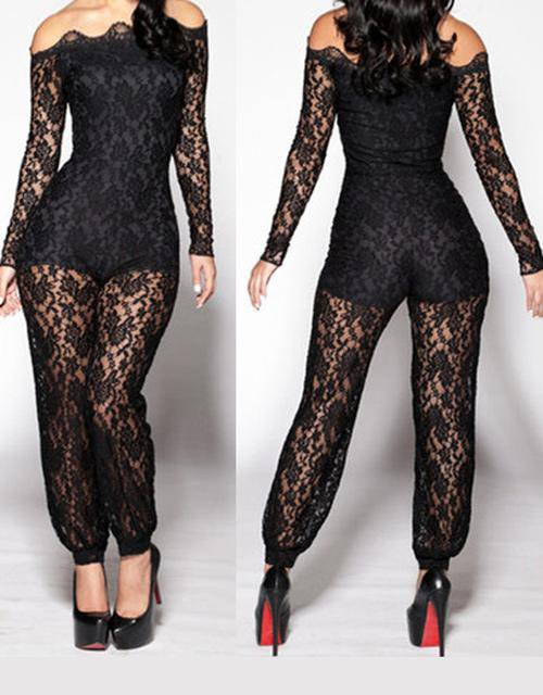 Hot Sale Summer Sexy Women Black Lace Jumpsuit W910002