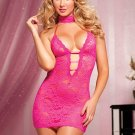 Halter Rose Lace V-neck Women Pink Sexy Midnight Babydoll Lingerie W244197C-RCO