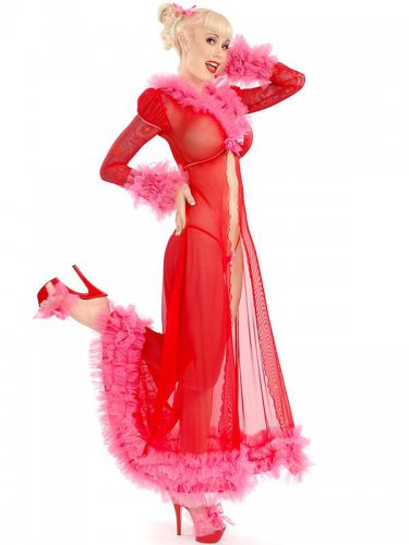 Christmas Ankle-Length Sexy Women Red Lace Mesh Santa Long Gown Lingerie W0820