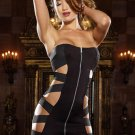 Fashion Hollow Out Front Zipper Black Strapless Clubwear W6307