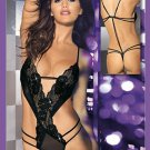 Sleeveless Sexy Tight Midnight Stripe Black Floral Teddy Lingerie W5337