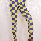 Yellow Blue Plaid fitness Sport Racing Checkered Flag Leggings For Woman WL008