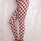Brown White Women Sexy Plaid Sport Racing Checkered Flag Good Elastic Leggings WL008