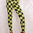 Yellow Black Women Mid Waist Sexy Plaid fitness sport Racing Checkered Flag Leggings wl008