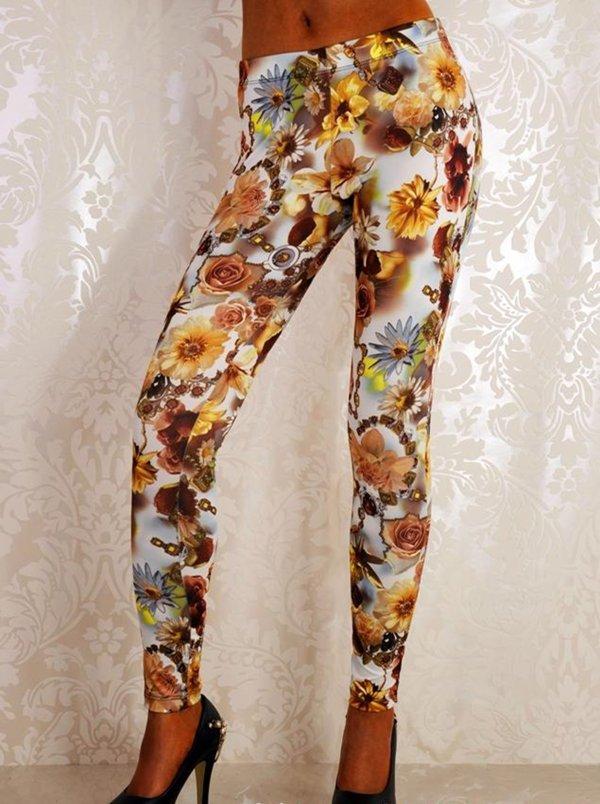 Women Mid Waist Sexy Romantic Yellow Rose Manor Leggings Ankle-Length Print Leggings wl041