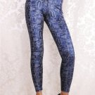 Women Mid Waist Sexy Blue English Letter Print Casual Leggings Ankle-Length wl022