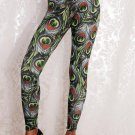 Green Women Mid Waist Ankle-Length Sexy Peacock Pants Leggings wl035