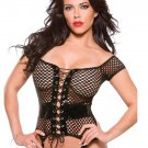 Big Mesh Off-shoulder Faux Leather Black Vinyl Sleep Tops Lingerie Set W0852