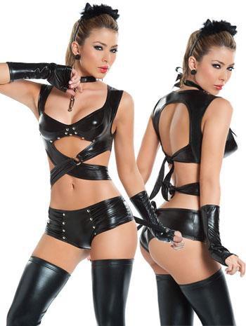 Sexy black catsuit Vinyl lingerie Leather Adult Sexy Bodysuit Clubwear W427966